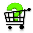 Shopping cart with question mark inside