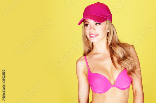 Smiling Pretty Woman In Pink Bikini