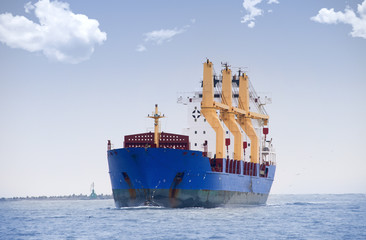 merchant ship during navigation and cargo operations