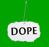 Word DOPE on a fishing hook on green background poster