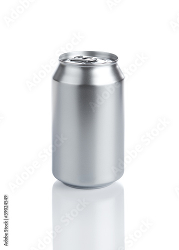Blank aluminum soda can isolared on white background