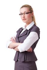 ernste junge Geschäftsfrau