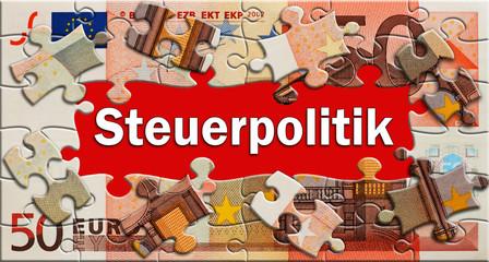 Steuerpolitik - Puzzle - Geldschein