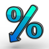Blue Percent Sign Denoting a Decrease poster