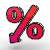 Red Percent Sign Denoting a Decrease poster