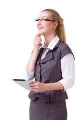 junge blonde Geschäftsfrau mit Tablet Computer beim nachdenken
