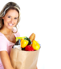Young woman with a grocery shopping bag.