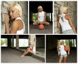 Basketball girl collage. Made of five photos.