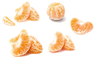 Mandarin section segment on white background.