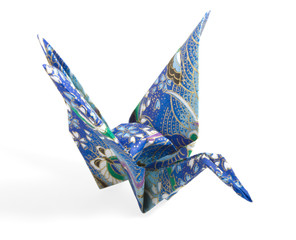 Blue and Gold Origami Crane