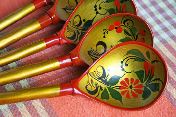 "Russian spoons with an ornament of ""Hohloma"""