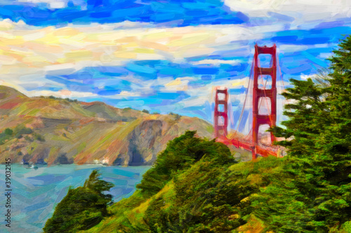 Obraz w ramie San Francisco Golden gate bridge painting art