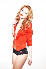 Sexy Redhead In Lacy Underwear