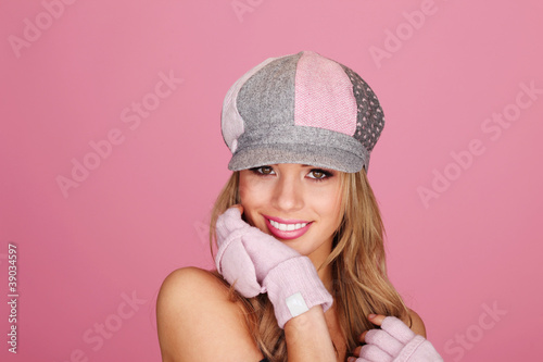 Demure Woman In Peaked Cap