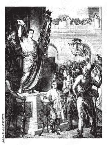 Augustus presented to the members of the three provinces of Gaul