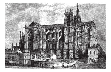 The Cathedral of Metz (north side), vintage engraving.