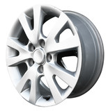 car alloy wheel, isolated over white background poster
