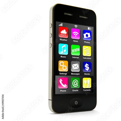 Leinwanddruck Bild Smartphone stehend mit Apps