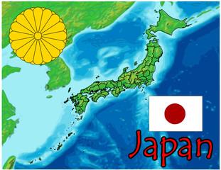 japan asia map flag emblem