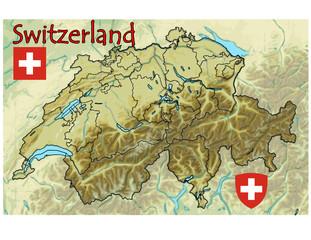 switzerland europe map flag emblem