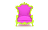 Luxury modern pink chair in a green frame 2 poster