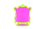 Luxury modern pink chair in a green frame poster