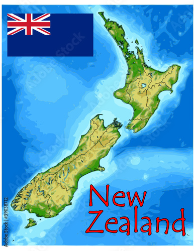 new zealand oceania map flag emblem