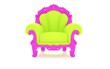 Luxury modern green chair in a pink frame