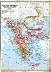 The map of Balkan Peninsula (Turkey, Greece, Serbia, Romania and