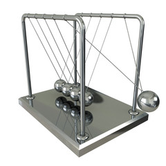 Pendulum, balancing balls Newton's cradle in action over white