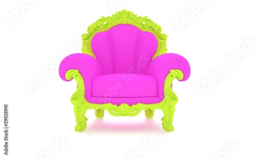 Luxury modern pink chair in a green frame