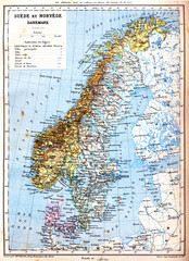 The map of Sweden, Norway and Denmark