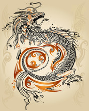 Dragon Doodle Sketch Tattoo Icon Tribal grunge Vector
