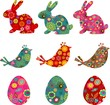 Patterned bunnies, birds and eggs