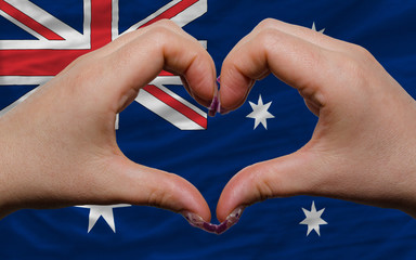 over national flag of australia showed heart and love gesture ma