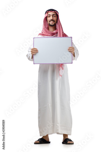 Young arab with blank message