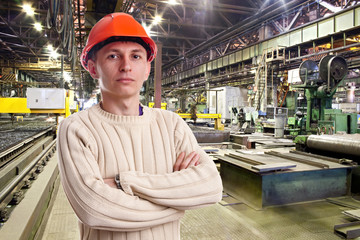 Foreman in the workshop of machinery plant