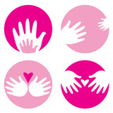 Motherhood, helpful hands icons isolated on white poster