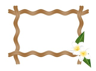 Frame with frangiapani flowers, vector