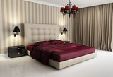 Fototapety Chic luxury hotel biege, red,  bedroom, with chandelier