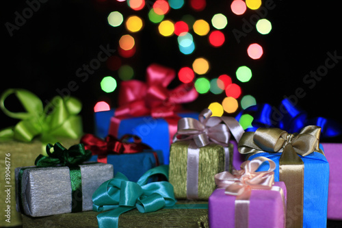 Gifts on a background of colored balls