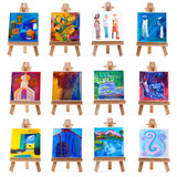 Twelve mini paintings on easels