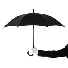 Well dressed man protecting Your text with an umbrella