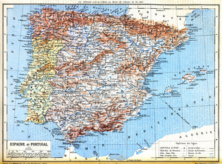 The map of Spain and Portugal