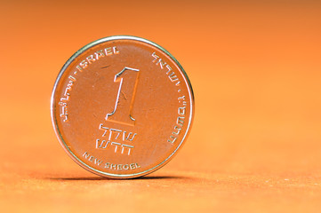 One shekel (sheqel) coin, israeli unit of money.