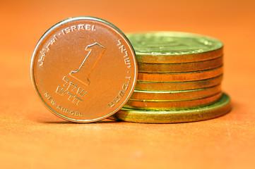 One shekel (sheqel) coin, israeli unit of money.