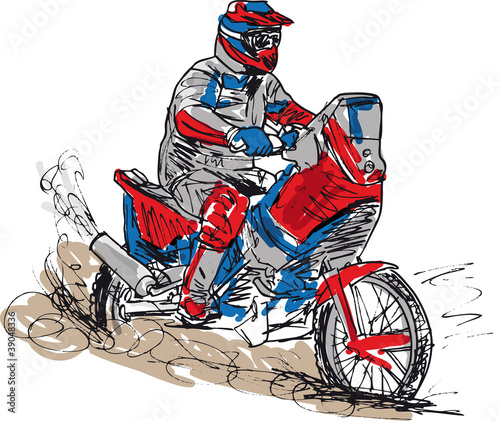 Sketch of motocross bike increase speed in track.