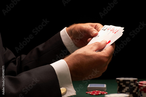 Poker player gambling casino chips