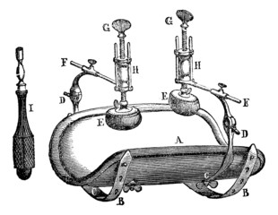 Broca compressor, vintage engraving.
