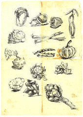 a large collection of seasonal fruits and vegetables